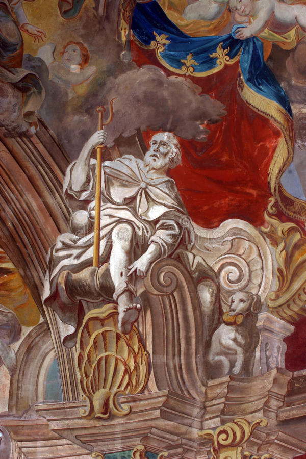 Saint Roch. Fresco painting on the ceiling of the church stock photo