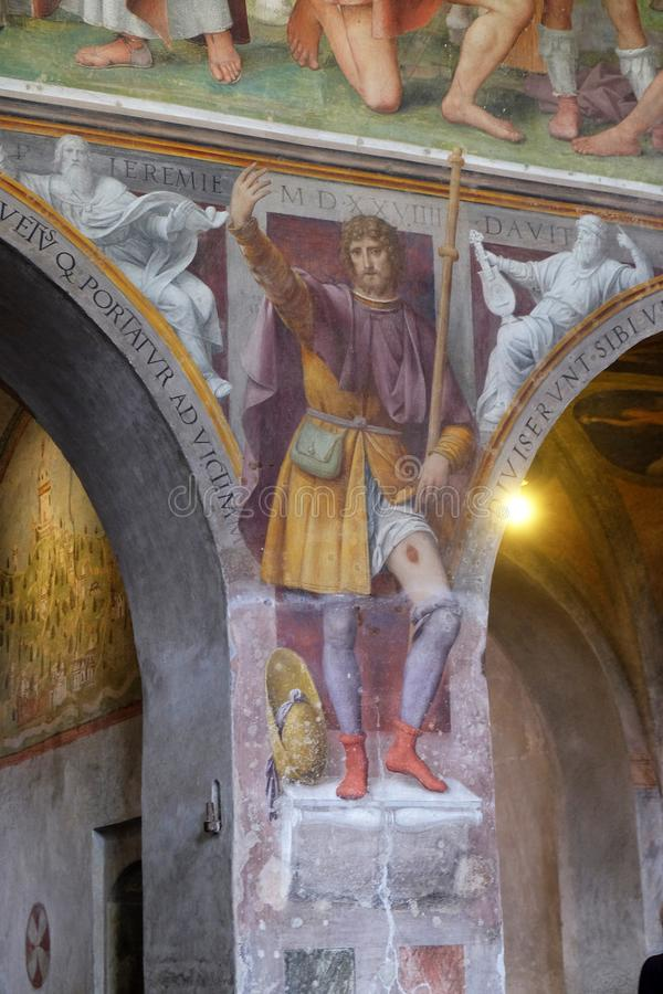 Saint Roch, fresco in the Santa Maria degli Angeli church in Lugano. Saint Roch by Bernardino Luini, fresco in the Santa Maria degli Angeli church in Lugano stock photography