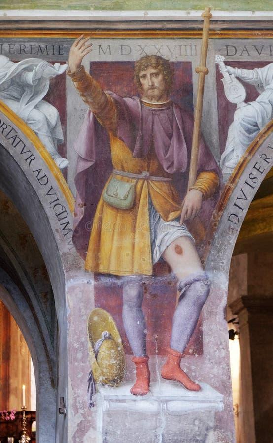 Saint Roch, fresco in the Santa Maria degli Angeli church in Lugano. Saint Roch by Bernardino Luini, fresco in the Santa Maria degli Angeli church in Lugano stock photos