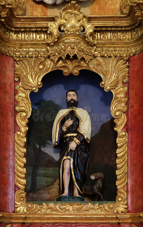 Saint Roch. On the main altar in chapel of , Zagreb, Croatia royalty free stock image