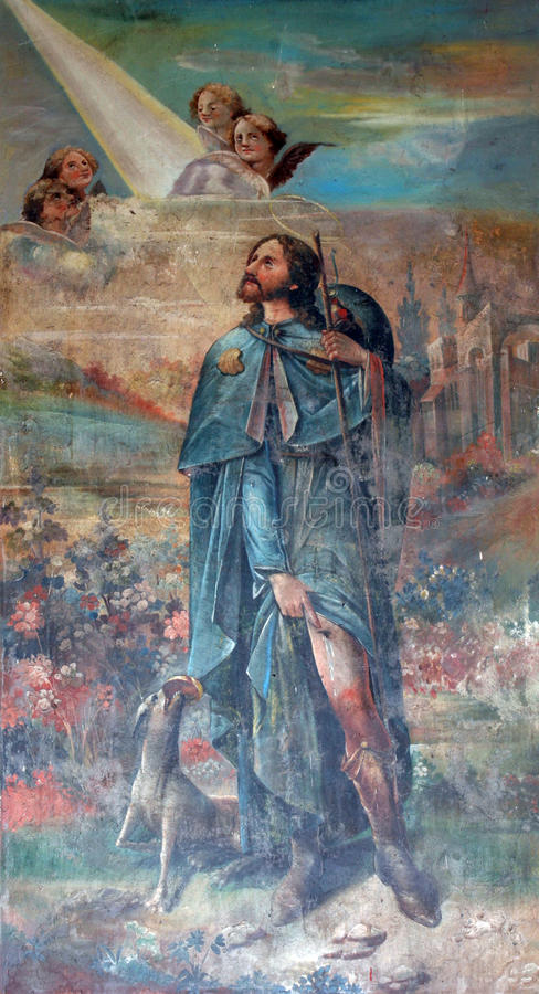 Saint Roch. Painting church altar royalty free stock photos