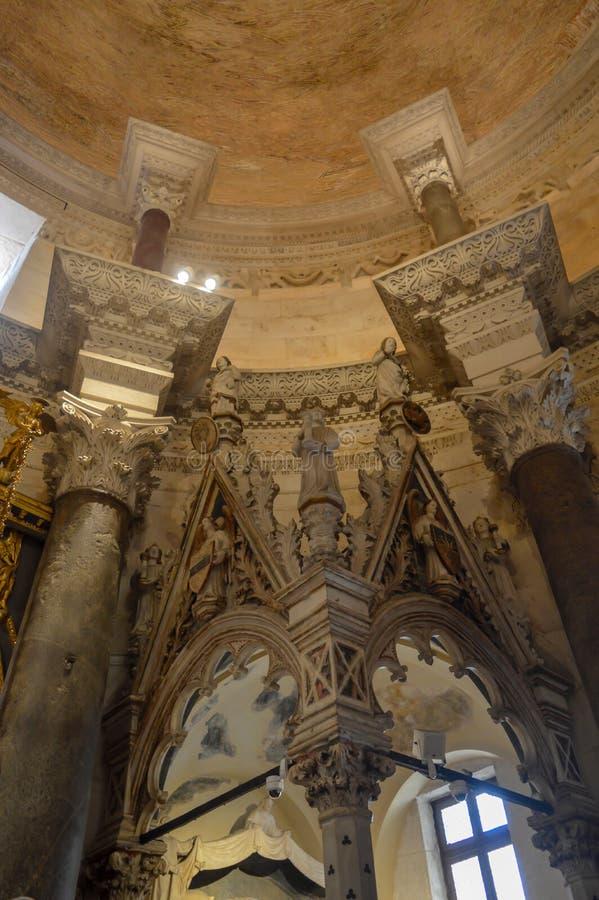 Saint Roch Roka Church near Diocletian`s palace in Split on June 15, 2019. SPLIT, CROATIA - JUNE 15: Saint Roch Roka Church near Diocletian`s palace in Split on royalty free stock photography