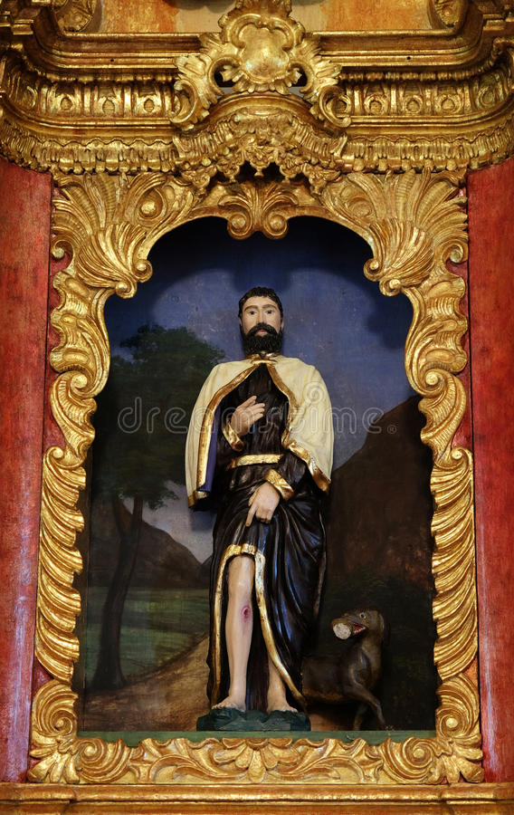 Saint Roch. On the main altar in chapel of , Zagreb, Croatia royalty free stock images