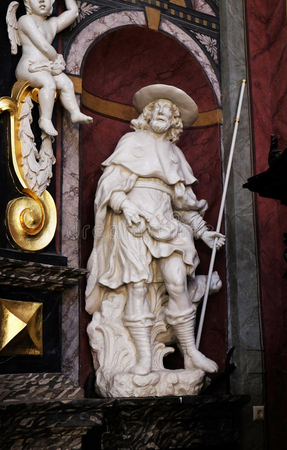 Saint Roch. The statue of the Saint Roch on the altar in the Franciscan Church of the Annunciation in Ljubljana, Slovenia royalty free stock photography