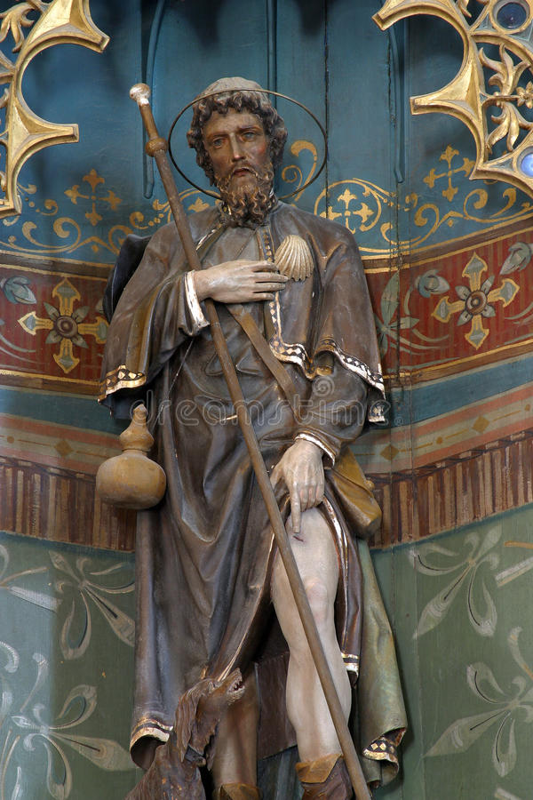 Saint Roch. Statue on the altar in Parish Church of  in Kratecko, Croatia royalty free stock photo