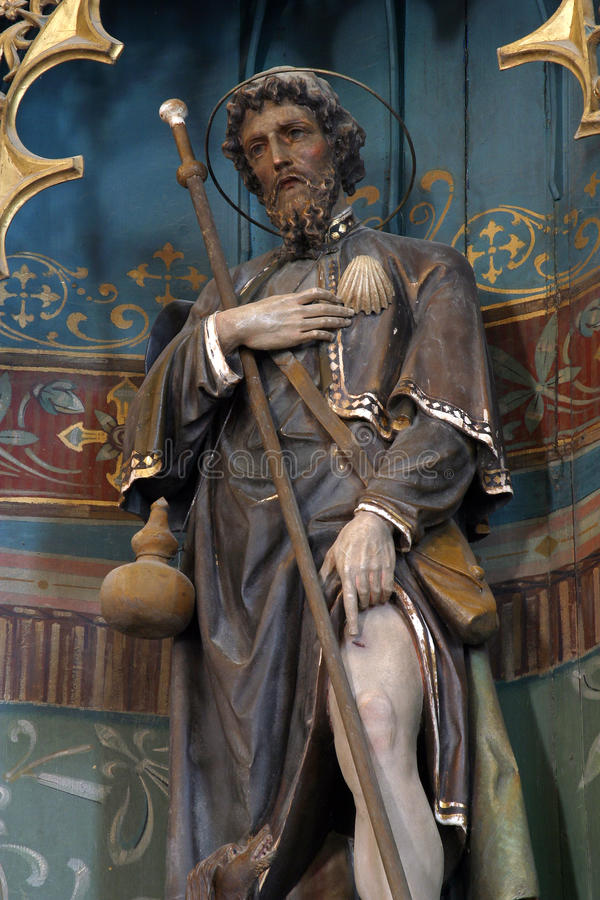 Saint Roch. Statue on the church altar royalty free stock images