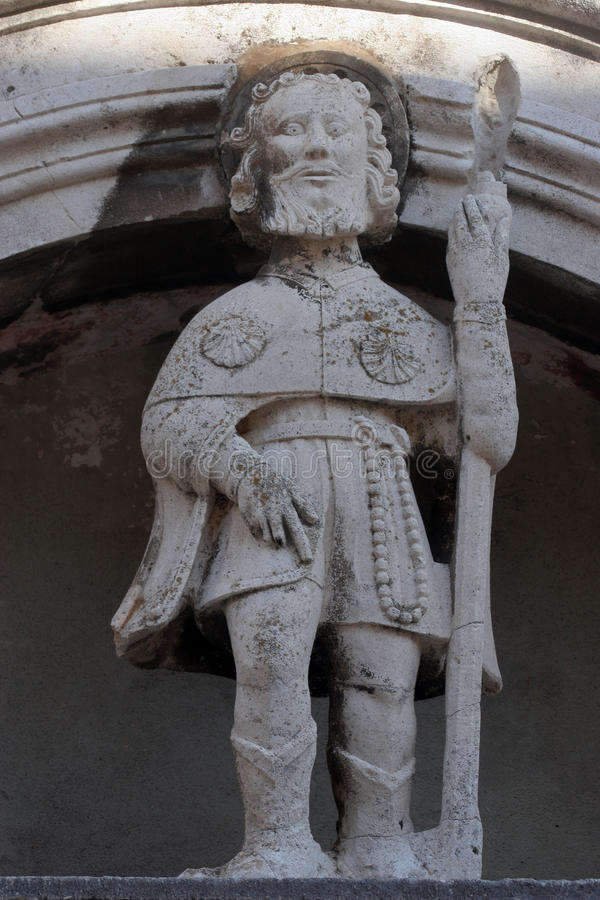 Saint Roch. Statue on church altar stock photo