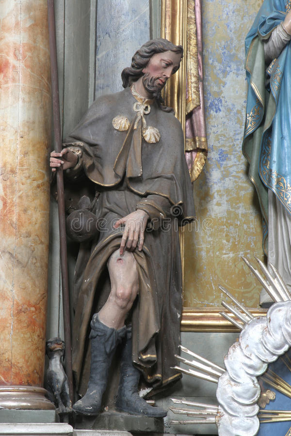 Saint Roch. Statue on church altar royalty free stock images