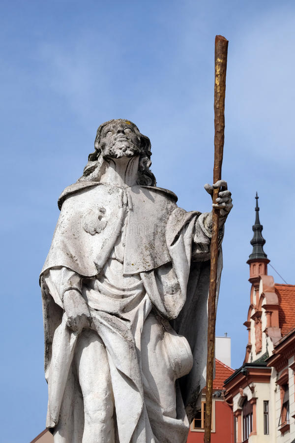 Saint Roch. Statue, Plague column at Main Square of the city of Maribor in Slovenia, Europe. Historical religious sculpture royalty free stock photography