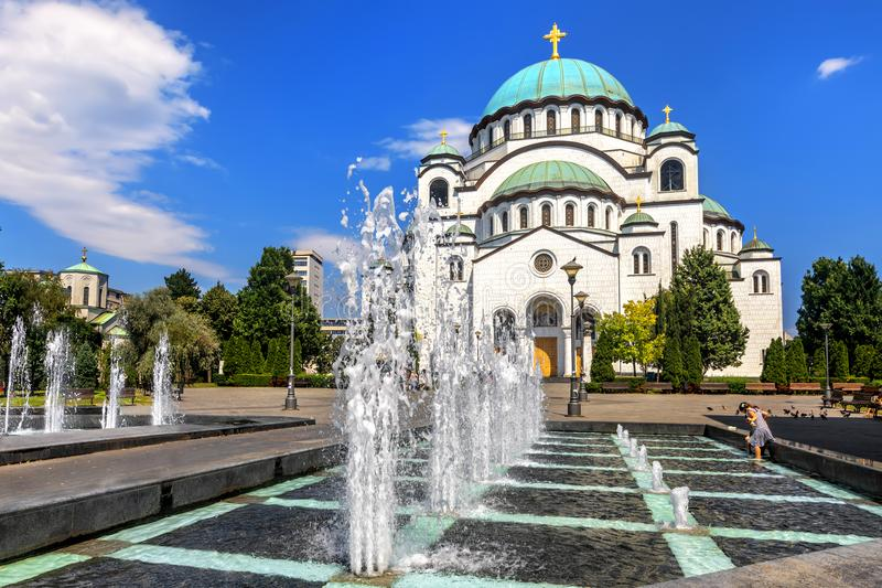 Saint Sava Cathedral in Belgrade, Serbia. One of the largest Orthodox churches in the world on a sunny day royalty free stock photography