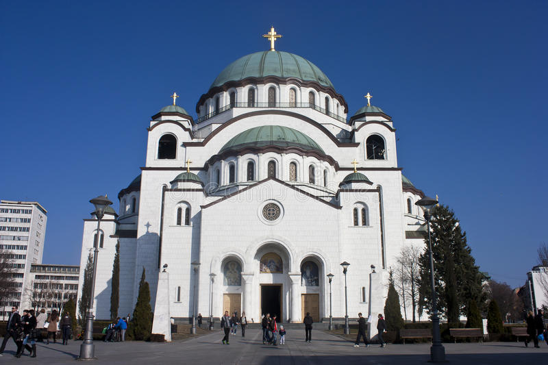 Saint Sava Church. Tourists in front of Saint Sava Church in Belgrade, Serbia. March 2012 royalty free stock photography