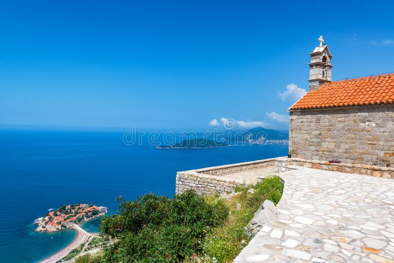 Saint Sava Church and Sveti Stefan royalty free stock image