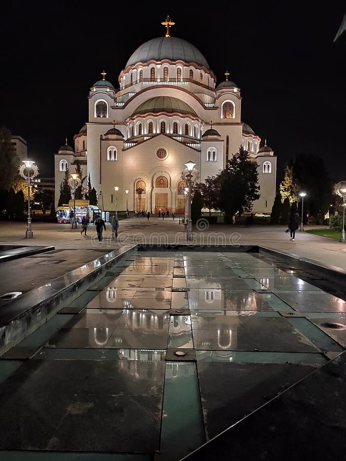 Saint Sava Temple Belgrade Serbia at night stock image