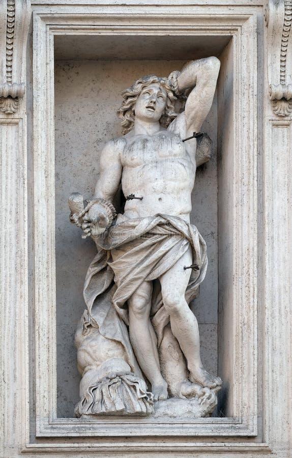Saint Sebastian. Portal of Sant Andrea della Valle Church in Rome, Italy royalty free stock photography