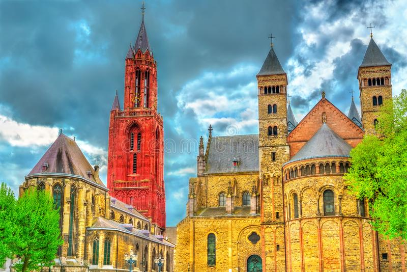 Saint Servatius Basilica and St. John Church on Vrijthof Square in Maastricht, the Netherlands stock photo