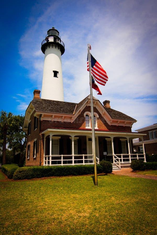 Saint Simon Island Lighthouse fotografia de stock royalty free
