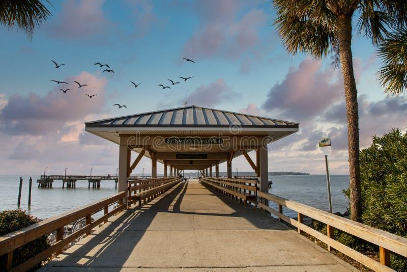 Saint Simons Island Pier immagini stock libere da diritti