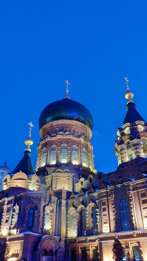 Saint Sophia Cathedral la nuit, Harbin photo libre de droits
