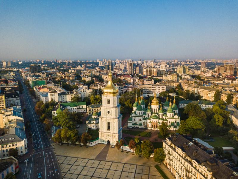 Saint Sophia`s Cathedral, square. Kiev Kiyv Ukraine with Places of Interest. Aerial drone photo. Sunrise light. City. Panarama. Summer time stock photography