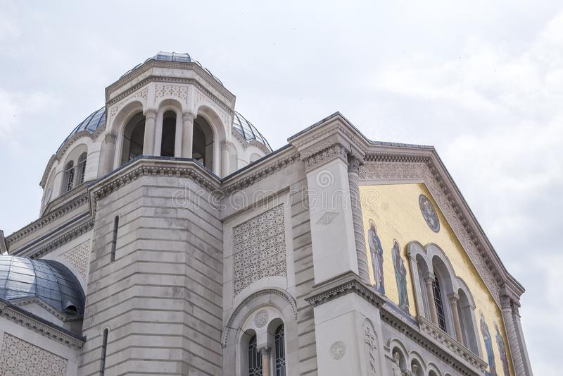 Saint Spyridon church in Trieste, Italy. Detail of Saint Spyridon church in Trieste, Italy royalty free stock photography
