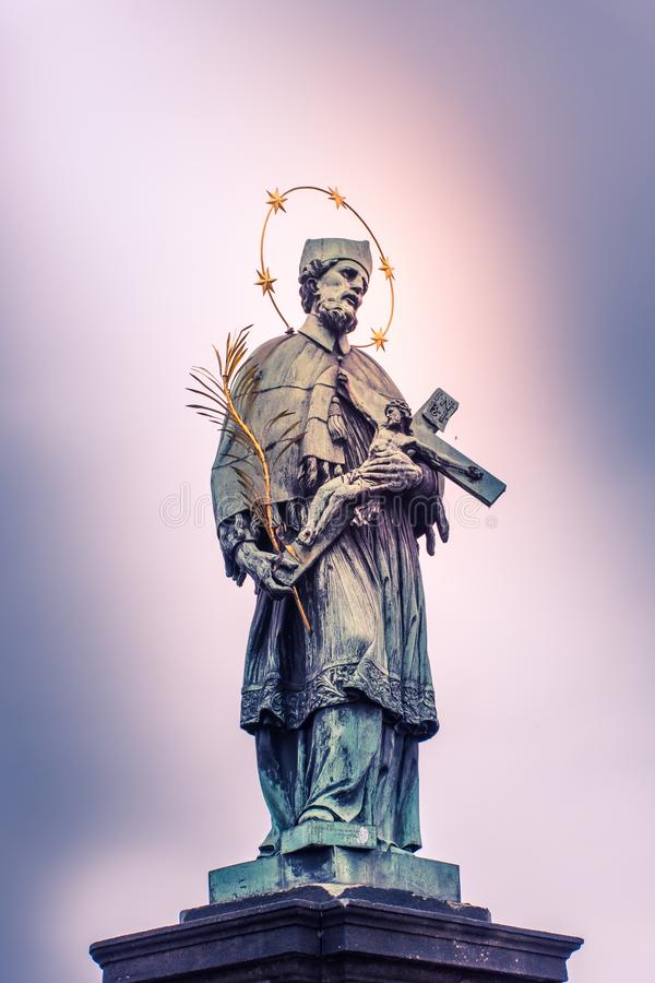 Saint Statue on Charles Brigde Prague royalty free stock photos