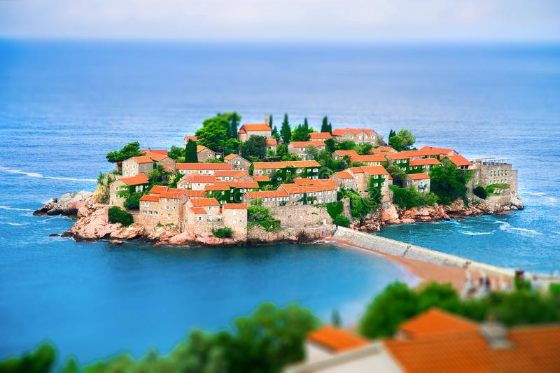 Saint Stefan island in Montenegro on the Adriatic sea stock image