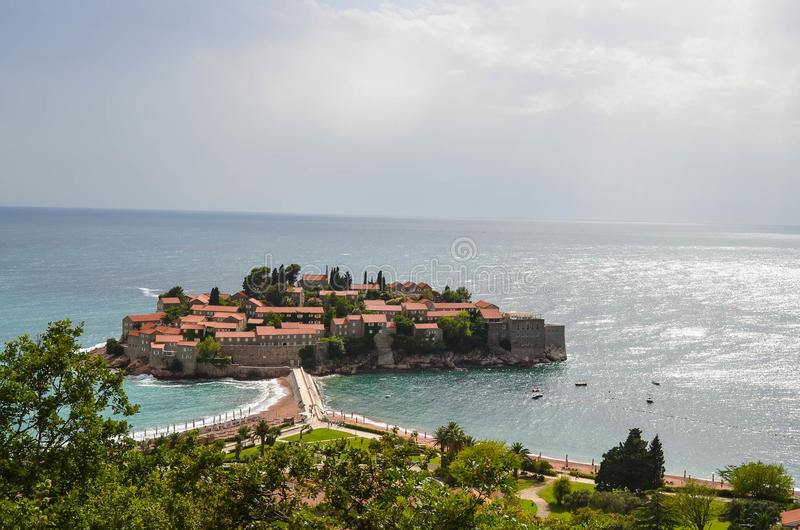 Saint Stefan island,Montenegro. Sveti Stefan (Saint Stefan) island, Montenegro, old town royalty free stock image
