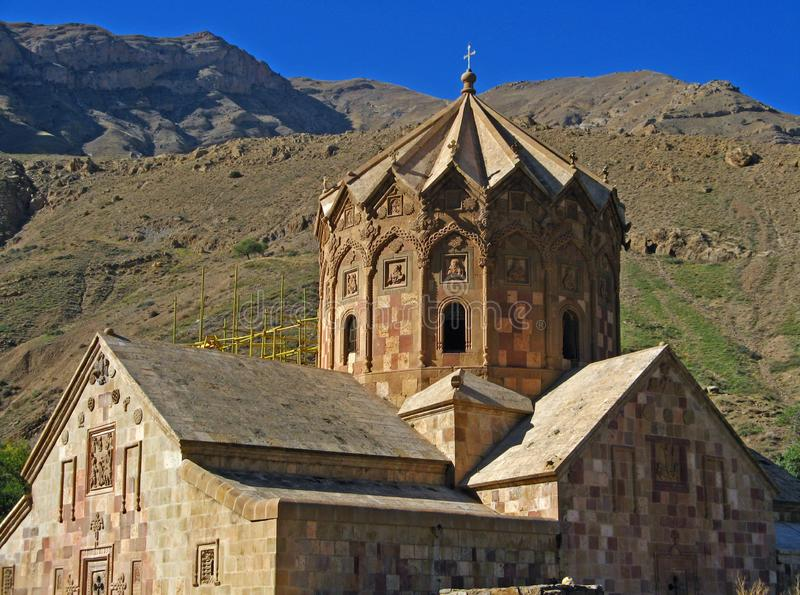 Saint Stepanos Monastery Julfa Iran. The Saint Stepanos Monastery, also known in Armenian as Maghardavank, is an Armenian monastery located about 15 km northwest royalty free stock photos