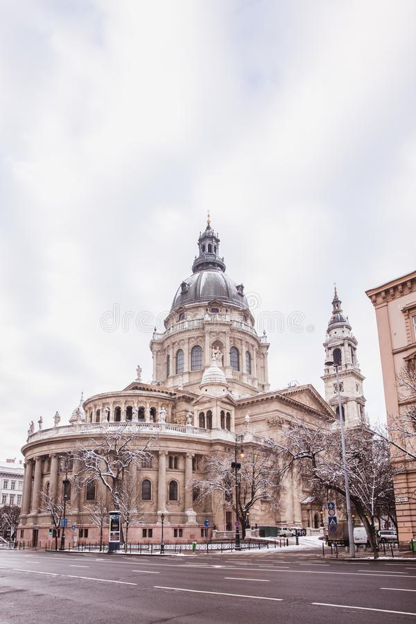 Saint Stephen basilica in winter cover snow, Budapest, Hungary royalty free stock photos