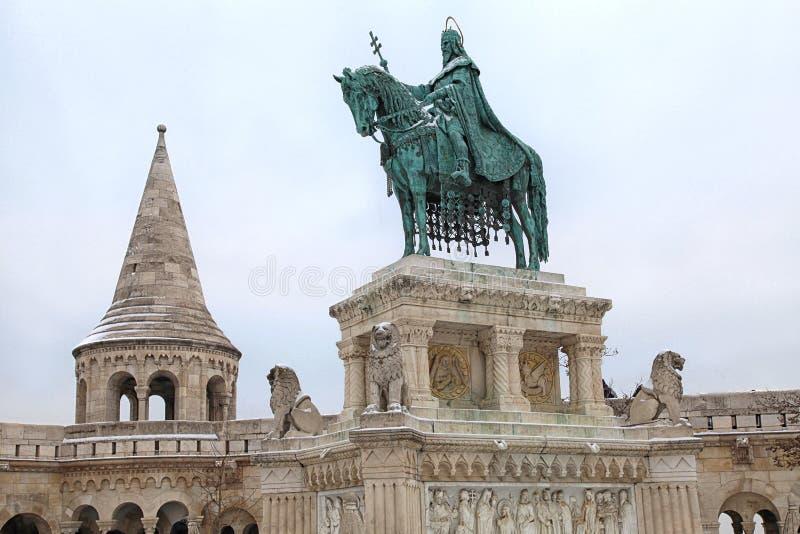 Saint Stephen monument in Fisherman`s Bastion in Budapest, Hunga stock photos