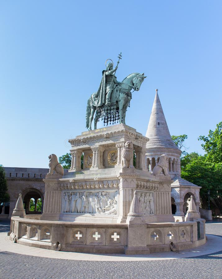 Saint Stephen monument in fisherman`s bastion in Budapest stock photos