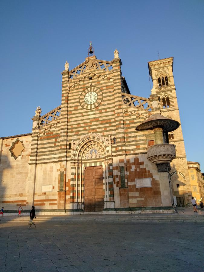 Saint Stephen`s Cathedral or Duomo di Prato at sunset light, Tuscany, Italy stock photography