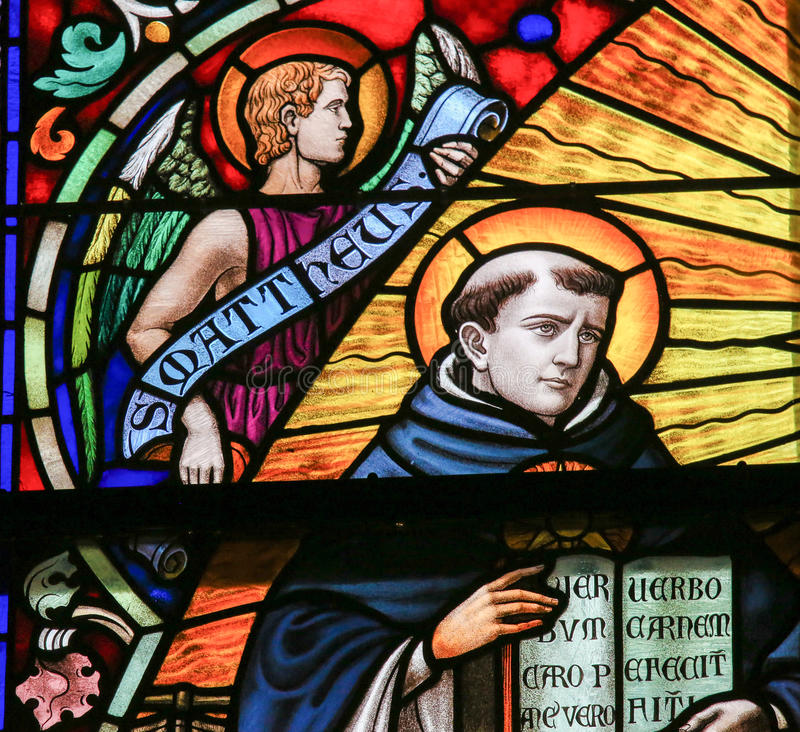 Saint Thomas Aquinas - Stained Glass. Stained Glass depicting Saint Thomas Aquinas & x28;1225 - 1274& x29;, Italian Dominican friar, Catholic priest, and Doctor stock photography