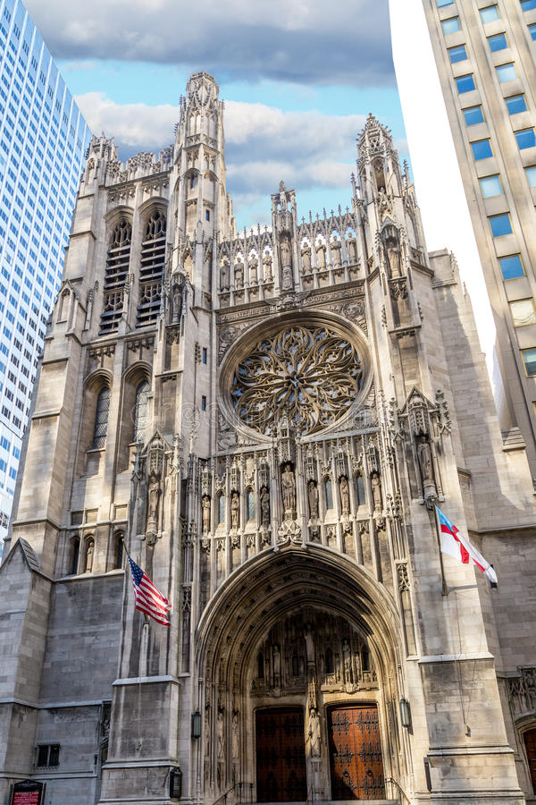 Saint Thomas Church. In New York.  is located at the corner of 53rd Street and Fifth Avenue in the borough of Manhattan, New York royalty free stock photos