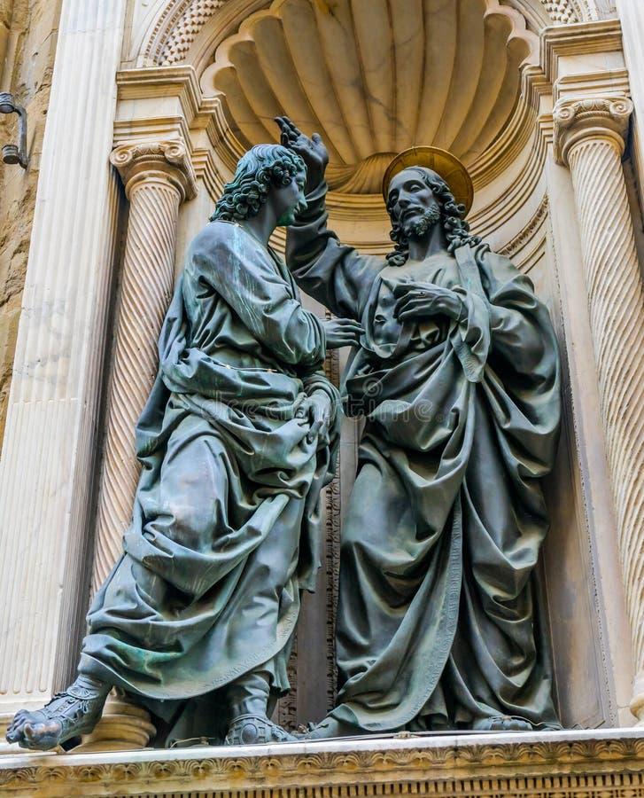 Saint Thomas Statue Orsanmichele Church Florence Italie du Christ photographie stock libre de droits