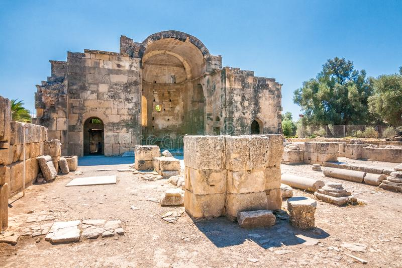 Saint Titus Basilica in Gortyn archaeological site on Crete royalty free stock image