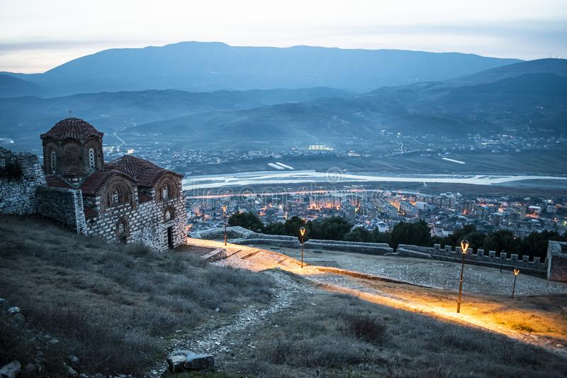 Saint Trinity Church. View of Saint Trinity Church in Berat, Albania, albanian, castle, orthodox, religion, faith, cross, ancient, old, architecture, balkan stock images