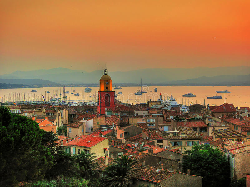 Saint-Tropez. Look from citadel to old town of Saint-tropez at sunset time /France royalty free stock photo