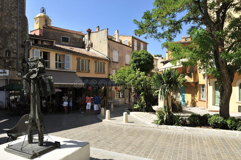 Saint Tropez. Small square Place des Remparts in centre of Saint Tropez in France royalty free stock image