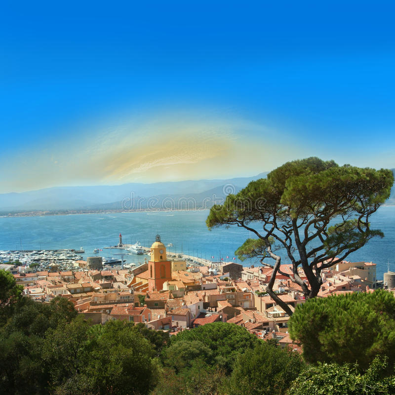 Saint Tropez Bay on The French Riviera. Summer day in Saint Tropez Bay on The French Riviera royalty free stock photography