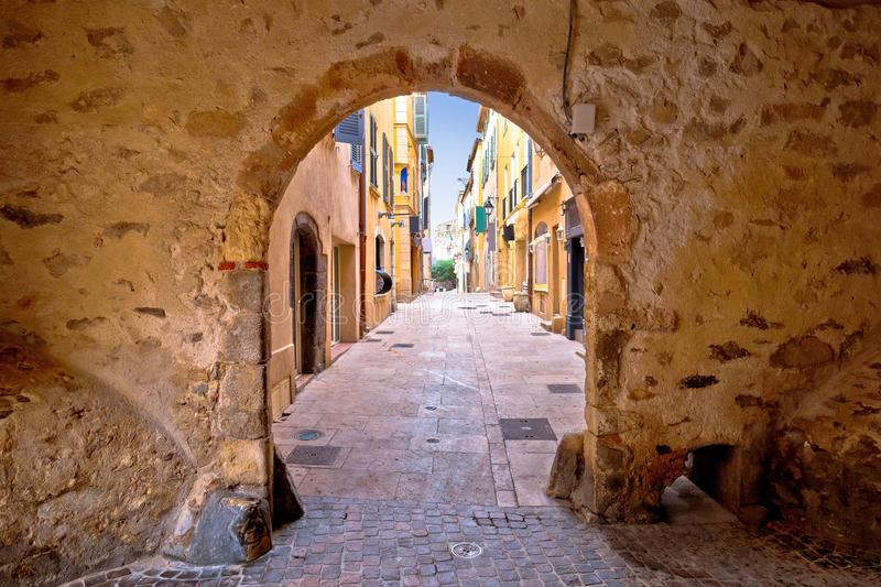 Saint Tropez historic town gate and colorful street view stock photo