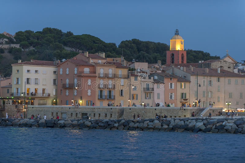 Saint Tropez på natten royaltyfri foto