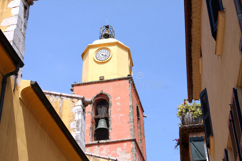 Saint-Tropez Provencal Bell tower church France. Provencal bell tower church in Saint-Tropez French Riviera Provence Alpes Cote d'azur France stock photography