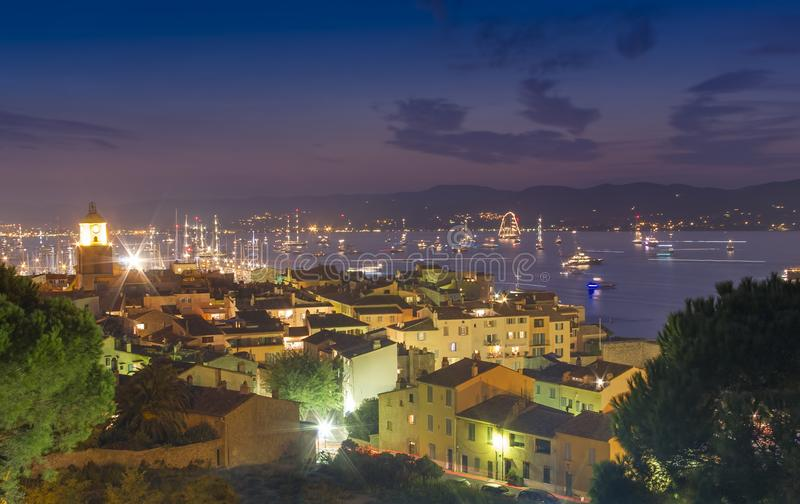 Saint Tropez sea resort, night scene stock images