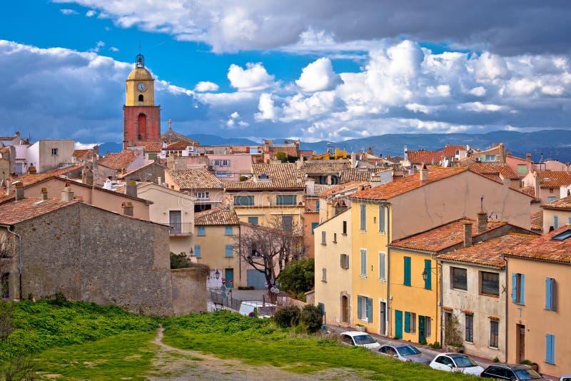 Saint Tropez village church tower and old rooftops view, famous tourist destination on Cote d Azur royalty free stock photos