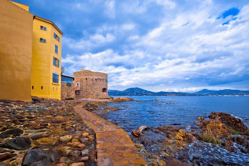 Saint Tropez village old seafront view, famous tourist destination on Cote d Azur stock image