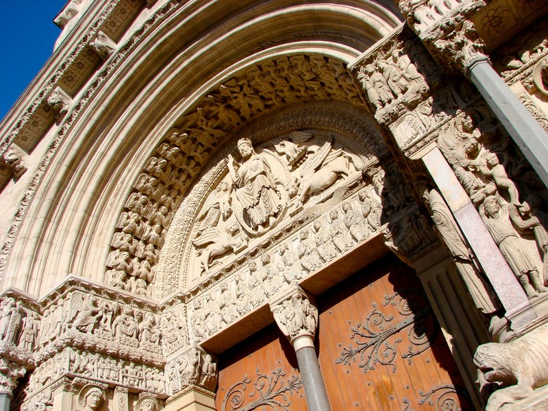 Saint Trophime portal in Arles stock images