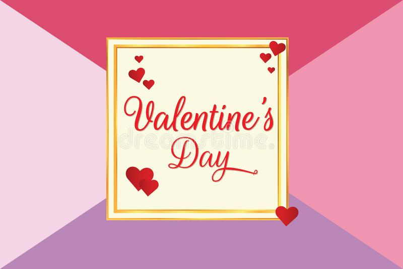 Saint-Valentin avec le fond de couleur illustration de vecteur