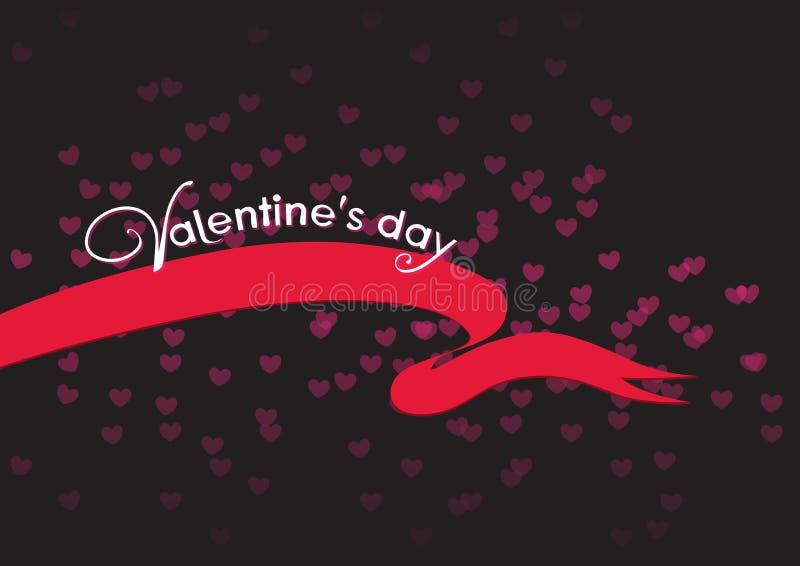 Saint-Valentin, carte de contraste avec le fond noir et ruban rouge illustration stock