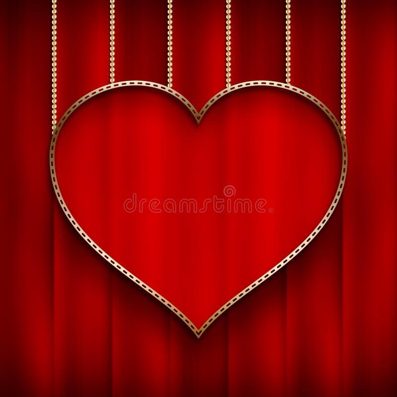 Saint-Valentin - coeur sur le fond rouge illustration de vecteur